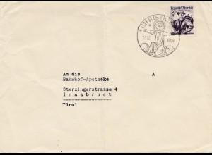 1954: Christkindl - Österreich auf Brief nach Innsbruck