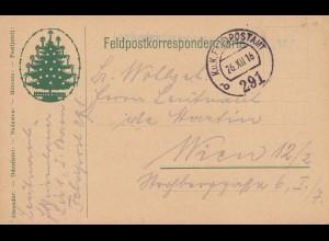 Feldpostkorrespondenzkarte: 1916 mit Weihnachtsbaum/Christbaum nach Wien