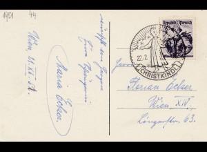 1952: Christkindl - Österreich Postkarte nach Wien IVX