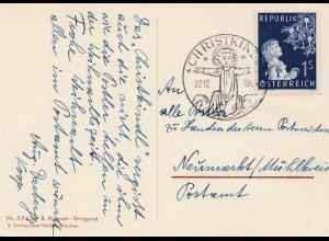 1954: Christkindl - Österreich Postkarte nach Neumarkt