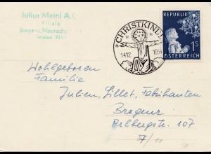 1954: Christkindl - Österreich Postkarte nach Bregenz