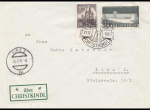 1957: Christkindl - Österreich, Rückseitig Vignette