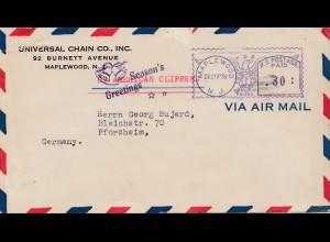 USA: Maplewood 1939 nach Deutschland: Seasons Greetings/Glocken, Zensur