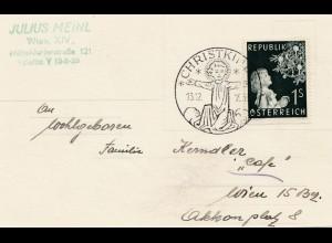 1953: Christkindl - Österreich Postkarte nach Wien (Cafe)