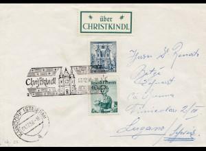 1958: Christkindl - Österreich auf Brief nach Lugano
