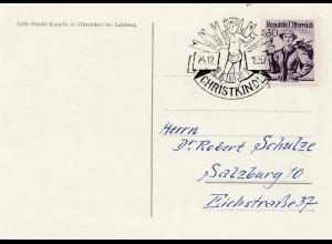 1957: Christkindl - Österreich auf Postkarte nach Salzburg