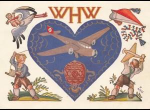 1936/37: WHW Propagandakarte: JU Flugzeug