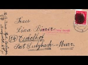 Zensur: Schwärzung, Stuttgart Vaihingen-Sulzbach Murr - Kriegsverhältnisse