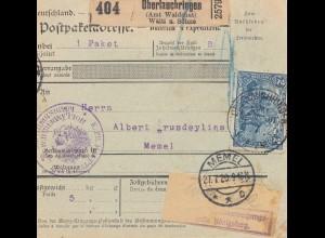 Zensur: Paketkarte Oberlauchringen nach Memel (Selbstbucher) - Postüberwachung