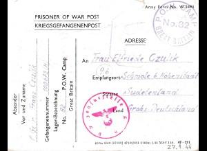 Zensur: 1944: Kgf: POW Camp 82 nach Sudetenland