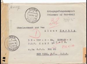 Zensur: 12.1944: Rambin/Stralsund nach New York - POW Camp
