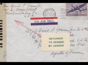 Zensur: USA 1945 to Panama - Returned to sender -Censor