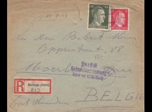 Zensur: 1944 von Bornum/Harz nach Belgien: Zurück: Keine Verbindung BPA Köln