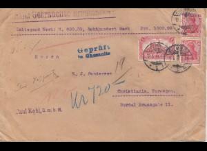 Zensur: 1916: Wertbrief von Chemnitz nach Norwegen - Prüfstelle Chemnitz