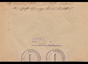 Zensur: 1916: Grossosnig nach Dänemark: Hamburg: Militärisch unter Kriegsrecht