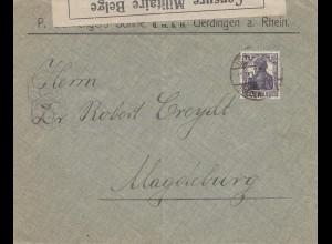 Zensur: 1915: Brief aus Uerdingen/Rhein nach Magdeburg: Militär Zensur