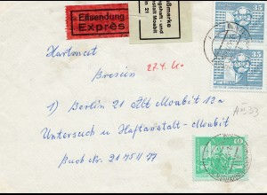 Zensur: 1977: DDR nach Berlin Haftanstalt: Verschlussmarke-Eilboten