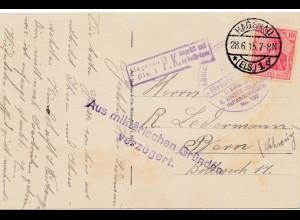 Zensur: 1915: Ansichtskarte Hagenau in die Schweiz; Militär. Gründe verzögert