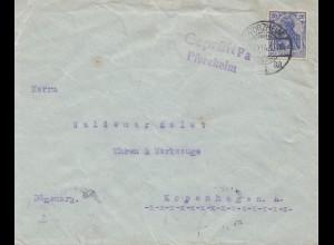Zensur: 1914 Brief aus Pforzheim nach Kopenhagen-Geprüft Pa Pforzheim
