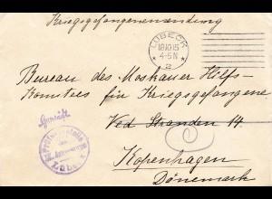 Zensur: 1915: Lübeck nach Kopenhagen: Prüfstelle Lübeck