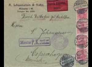Zensur: 1919: Münster Eilboten nach Copenhagen - Münster Geprüft