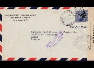 Zensur: USA Brief nach Frankreich - Retour