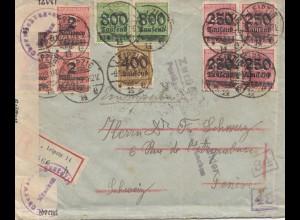 Zensur: 1923: Einschreiben von Leipzig in die Schweiz: Postüberwachung Steuer