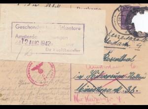 Zensur: 1942. Ganzsache von Mayen nach Holland: Beschädigt