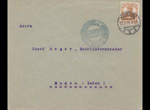 Zensur: 1917 Brief von Konstanz, Geprüft Konstanz