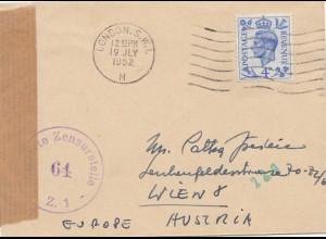 Zensur: 1952: Brief von London nach Wien: Alliierte Zensur 64