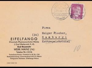 Zensur: 1945/46: Brief aus Mainz 03/45 nach Hambur: Zustellung 1946