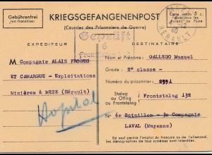 Zensur: 1940: Kriegsgefangenenpost Laval/Mayenne, Durchgangslager Frankreich