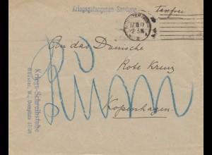 1917: Kriegsgefangenen Sendung Münster an DRK Kopenhagen