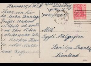 Zensur: 1918: Ansichtskarte Hannover nach Finnland: Zurück ungültige Abbildung