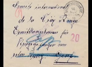 Zensur:1918: Brückenau Stadt nach Genf: Bürgermeisterzensur