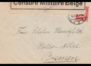 Zensur: 1924: Brief nach Bremen: Belgische Zensur