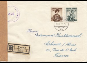 Zensur: 1951: Brief von Österreich nach Frankreich ZENSUR US 875