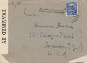 Zensur: 1941: Brief von Freiburg Hasloch nach USA: Hold by Censor bis 1945