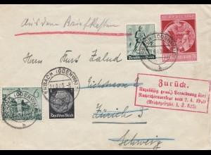 Zensur: 1940: Brief von Erbach/Odenwald nach Zürich: Zurück - Unzulässig