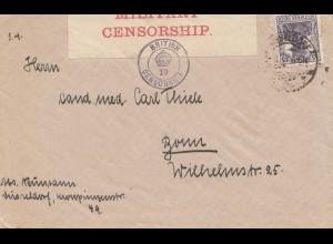 Zensur: 1918: Düsseldorf nach Bonn mit britischer Zensur