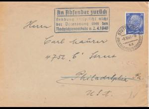 Zensur: 1941: Brief von Stuttgart nach USA: Absender zurück