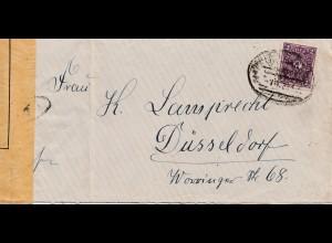 Zensur: 1923: Brief nach Düsseldorf: Rheinlandbesetzung - Zensur