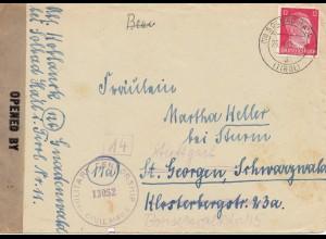 Zensur: April 1945: Solbad Hall nach Stuttgart: US Zensur
