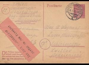 Zensur: Januar 1945: Duisburg nach Zwittau: Unzustellbar zur Zeit