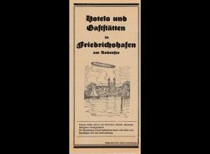 Zeppelin: Prospekt: Hotels und Gaststätten in Friedrichshafen, innen mit Infos