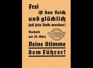 Zeppelin: Wahlpropaganda 29. März 1936 für Adolf Hitler mit Luftschiff