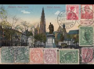 Rundreise Postkarte Belgien -USA-Deutschland/Schweiz....