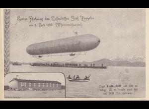 Ansichtskarte: Erster Aufstieg Luftschiff 1900, rücks. Befreiungsstempel Sudeten