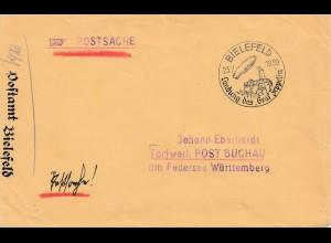 Brief 1939 aus Bielefeld: Sonderstempel Landung Graf Zeppelin