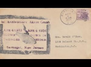 Brief 1934 1st anniversary Akron Crash-Zeppelin, New Jersey/Barnegat